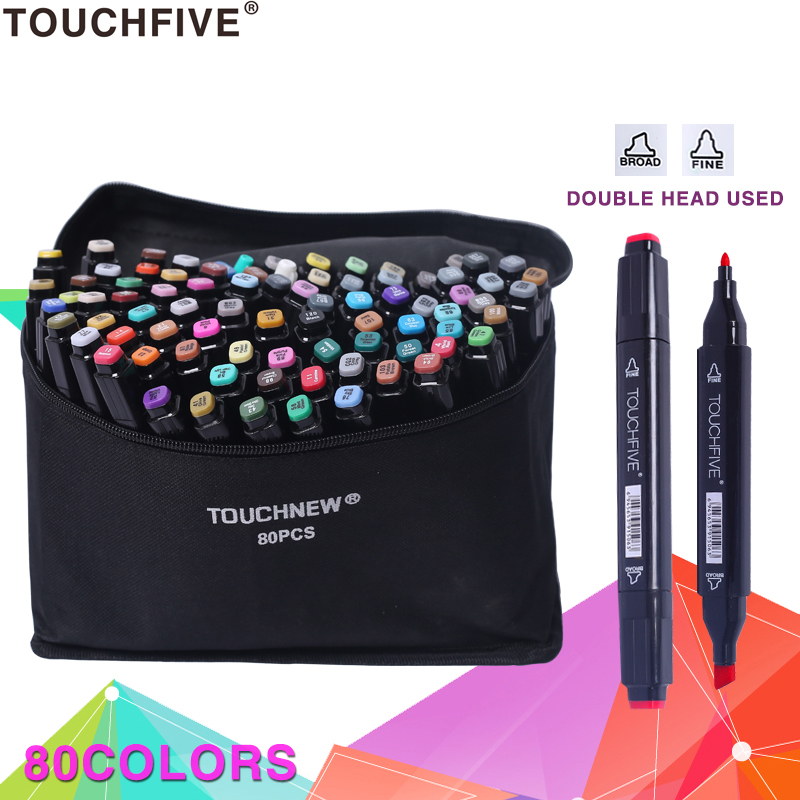TouchFIVE 168 Colors Alcoholic Dual Headed Manga Painting Markers Sets Sketch Set Liners For Drawing Marker Design Art Supplies dainayw 12 cool grey colors marker pen grayscale dual head art markers set for manga design drawing school student supplies
