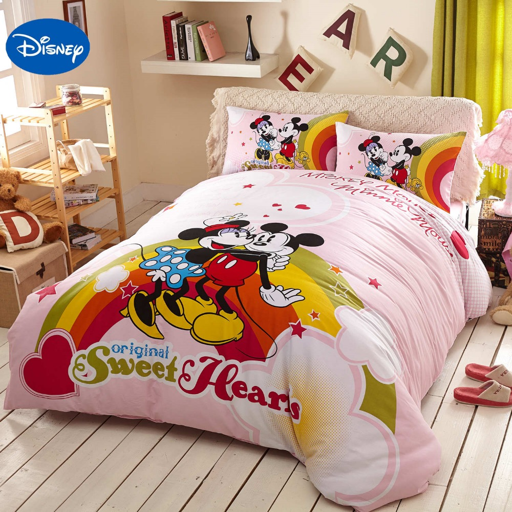 Pink Disney Cartoon Mickey And Minnie Mouse Bedding Sets Girls Bedroom Decor Cotton Bed Cover
