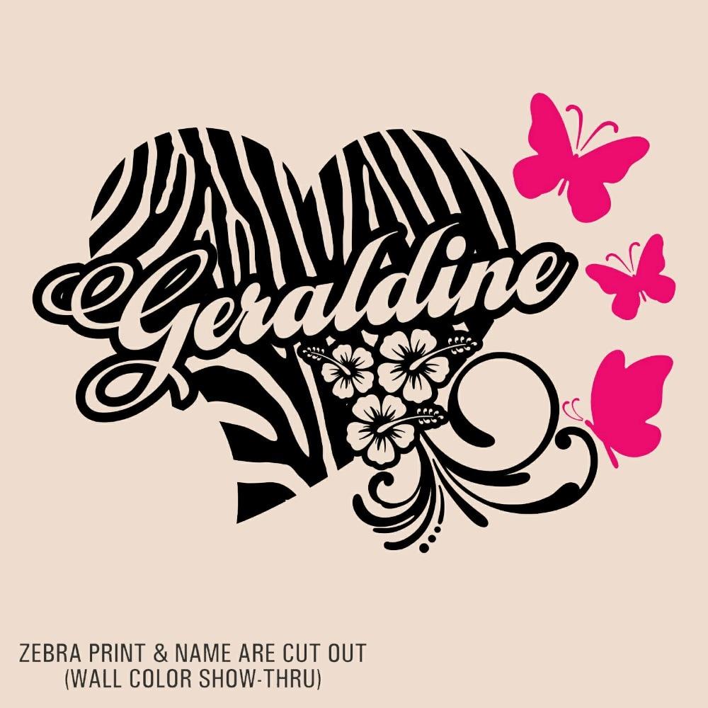 Personalized Name Custom Zebra Print Heart Flower ...