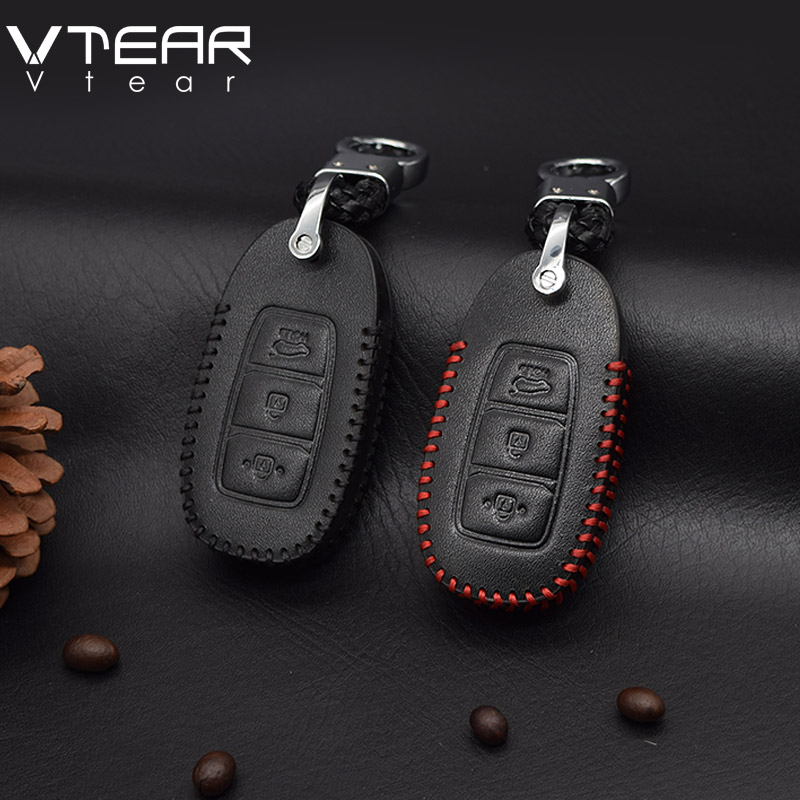 Vtear For Hyundai KONA Encino 2018 car Key Case Leather car Key protection cover Shell keychain accessories key case for car spirit beast motorcycle key cover decoration colorful key cover accessories electric door lock key shell motorsiklet kilit black