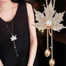 2pcs /lots  Long Necklace Crystal Women Jewelry 2019 Fashion Maple leaf Pendants Necklaces