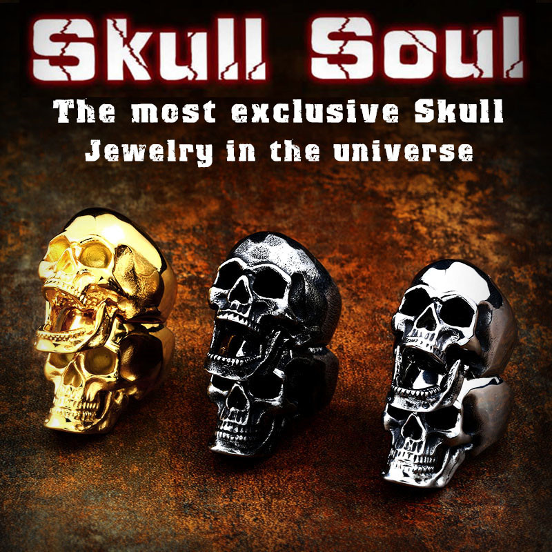 Beier 316L Stainless steel punk skull soul leader 2018 new arrive Mouth can be moved three style Ring men fashion jewelry LR592 punk style hollow out stainless steel crucifix ring for men