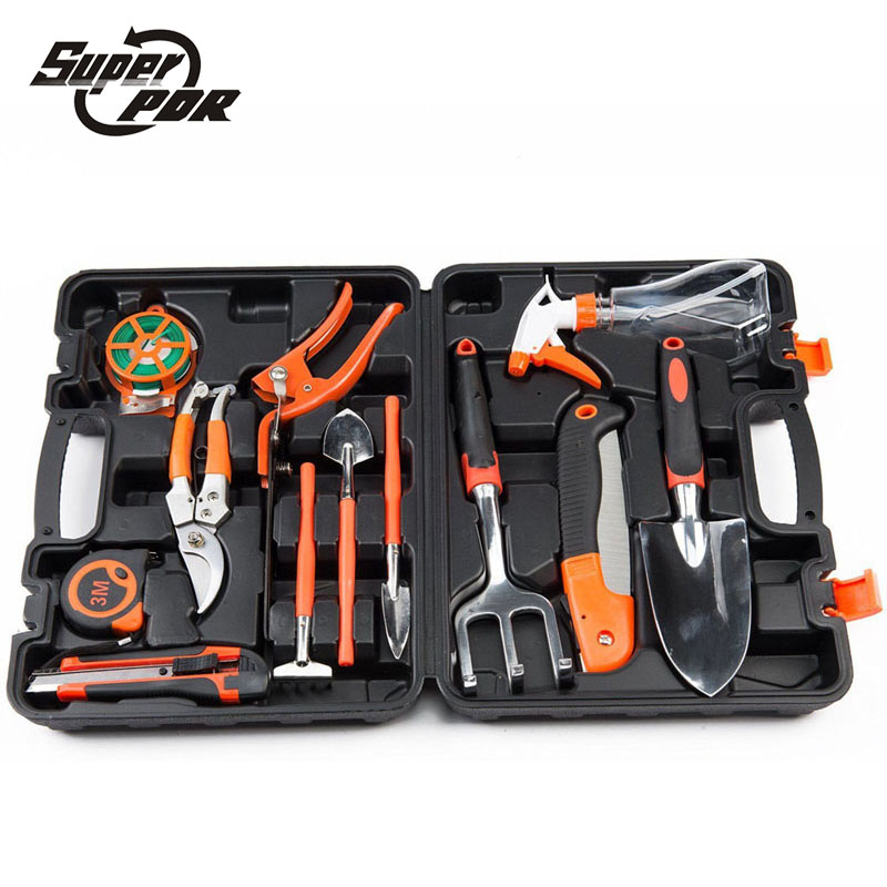 Super PDR 13pcs household gardening tools kit rake shovel saw pruner Garden Home Tool Set Kit Box Repair Hard Case DIY Handy поводок для собак ферпласт клаб g10 120 красный