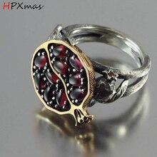 HPXmas, nuevo, antiguo, Vintage, rojo granate, Granada, anillo de piedra Cirrus para mujer, joyería para fiesta y boda A5