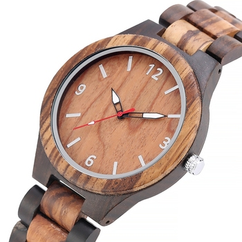 Retro Watch Simple Ebony Wood Watch Mena Clock Man Adjustable Wooden Band Analog Quartz Wristwatches Gift Box Watch Reloj Hombre image