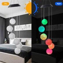Солнечный светильник, ветряные колокольчики, для улицы, меняющий цвет, непромокаемый+ 2 крючка, грация, светодиодный Колокольчик для птиц или шариков, Декор для дома и сада