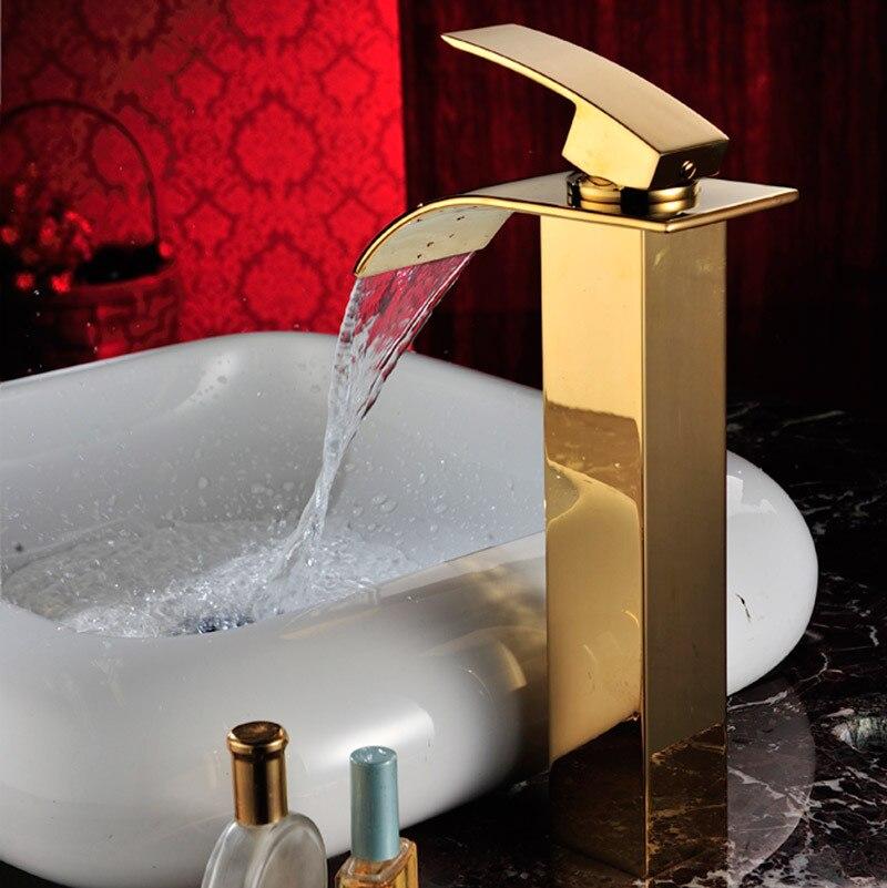 Salle de bain grand bassin doré robinet haut bassin robinet évier mitigeur cascade bassin robinet d'eau salle de bain robinet mixerSD-S-H-005A - 3