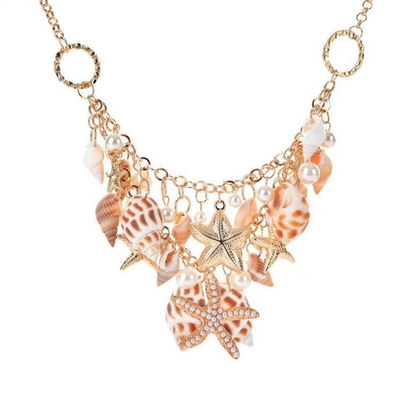 Новое летнее пляжное ожерелье, морская звезда, ракушка, жемчуг, ракушки, многоэлементное женское ожерелье с кулоном, праздничные аксессуары...