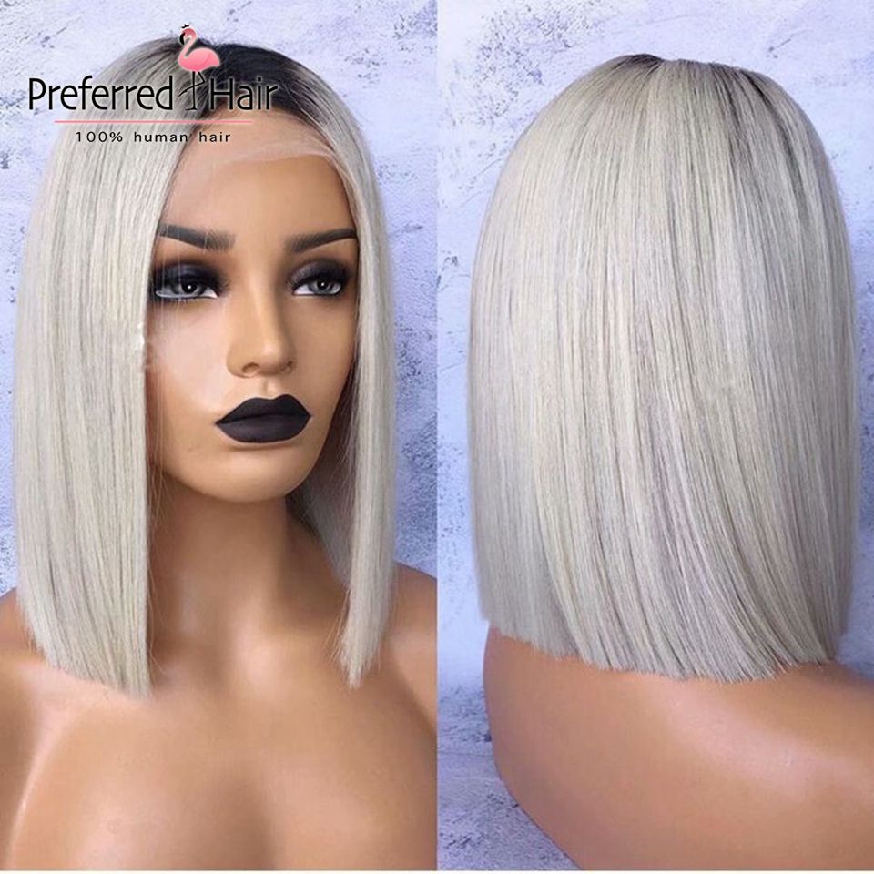 Preferred Brazilian Remy Bob Lace Front Wigs With Baby Hair Ombre Grey Preplucked 12inch Short Human Hair Wigs For Black Women