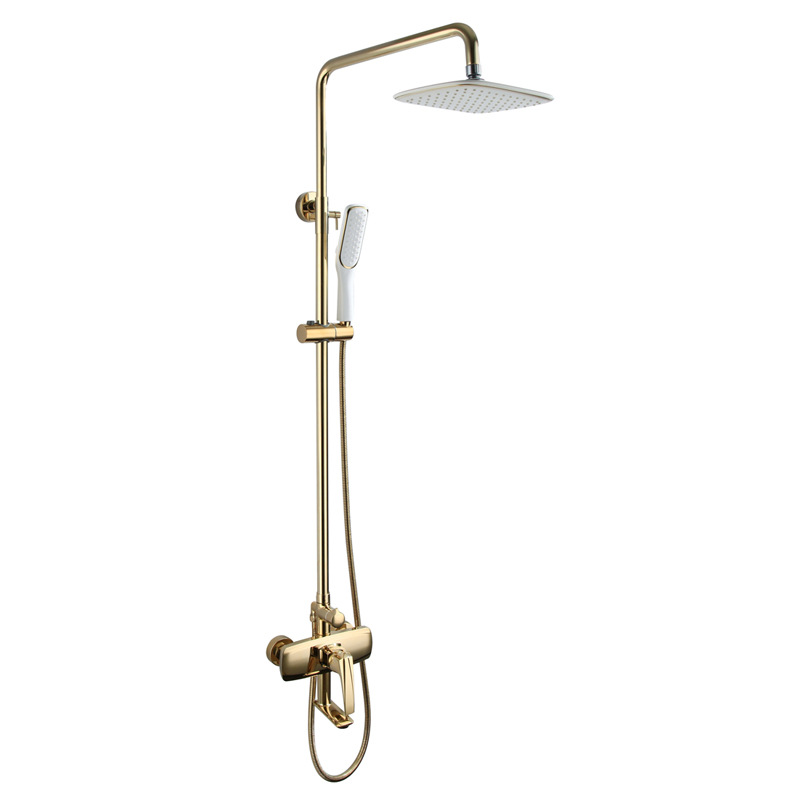 Wall Mounted Brass Bath Showerhead System Gold/Black Rainfall Shower Head Hot Cold Shower Faucets Set Spout With Handheld Shower