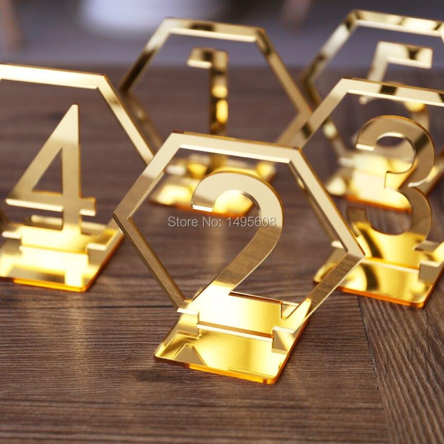 Hexagone Table Nombre Signes pour le Mariage Party Decor, argent ou Or Acrylique Nombre, Chiffres Romains Géométrique Boho Maîtresse