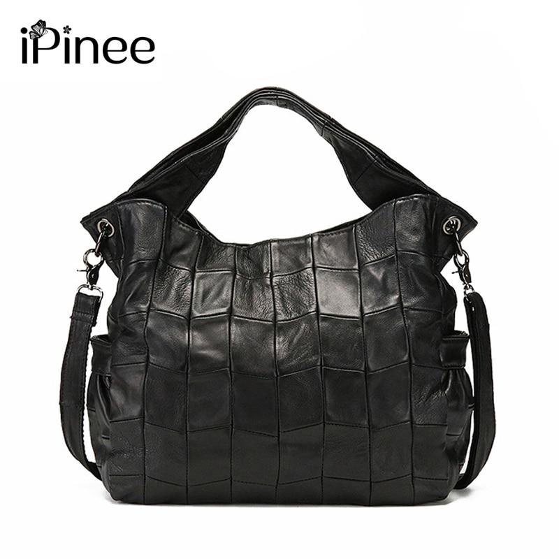iPinee 100% LUXURY Genuine Leather Women Shoulder Bag Brand Designer Sheepskin Genuine Leather Handbags Big Crossbody Bag luxury 100