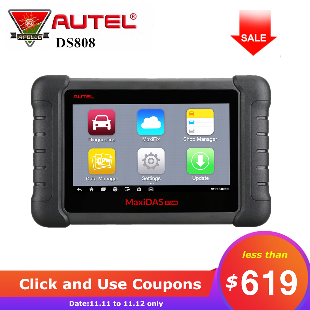 Autel MAXIDAS DS808 Automotive Scanner OBDII OBD2 Auto Car Diagnostic Tool ECU Programming with OBDI Connetor Upgraded of DS708