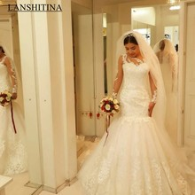 LANSHITINA Elegant Mermaid Wedding Dresses Long Sleeves