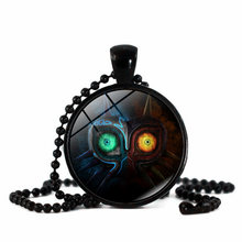 XUSHUI XJ Legend of Zelda Game owl Glass Cabochon Pendant Necklace black chain beads Long Necklace Women Jewelry(China)