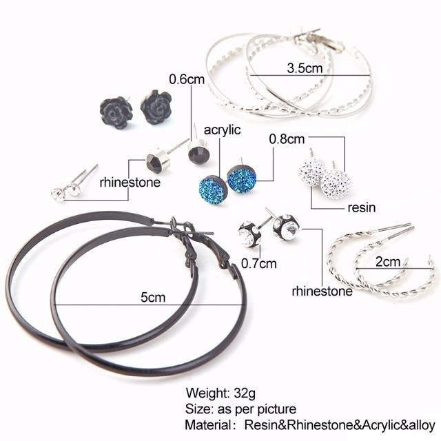 Женский набор серег обручей marte & joven Набор круглых и серебряных