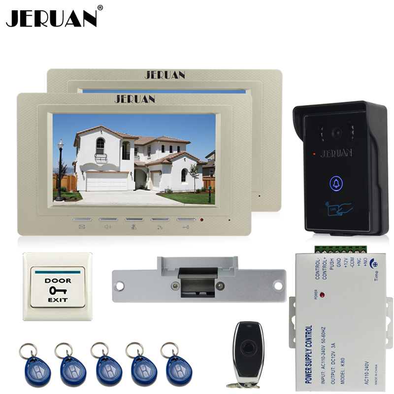 JERUAN two luxury 7`` Video Intercom Video Door Phone System+700TVL RFID Access Waterproof Touch key Camera+Cathode lock