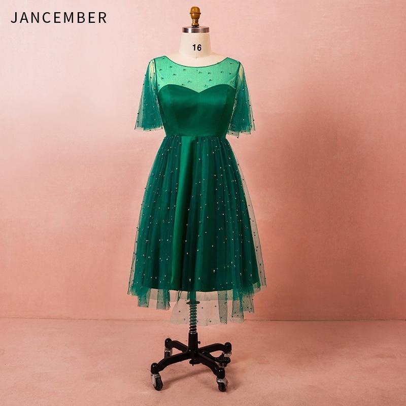 JANCEMBER 2019 Plus Size Cocktail Dresses Illusion Neckline Tulle Short Sleeve Lace Up Back Pearls Vestidos De Fiesta De Noche