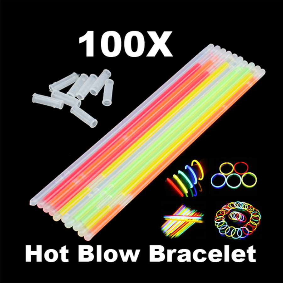 100pcs Neon Fluorescence Sticks Glow In The Dark Luminous Glowstick Bracelets Necklaces Festival Christmas Party Supplies
