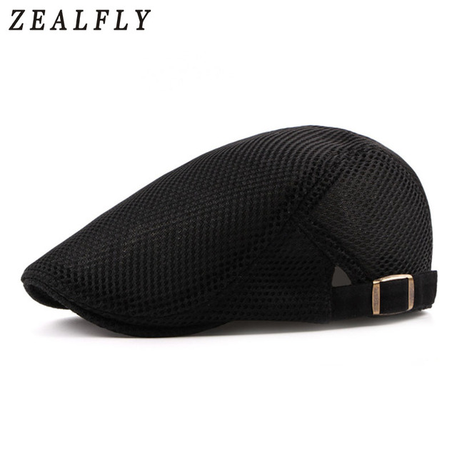 4caa5f0c792dd Summer Mesh Beret Hat For Men Women Solid Casual Ivy Flat Cap Cabbie Newsboy  Style Gatsby Hat Adjustable Breathable Net Caps