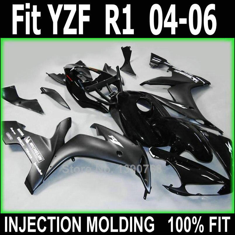 Injection molded fairings for Yamaha YZFR1 2004 2005 2006 black body work parts fairing kit YZFR1 04 05 06 NV109