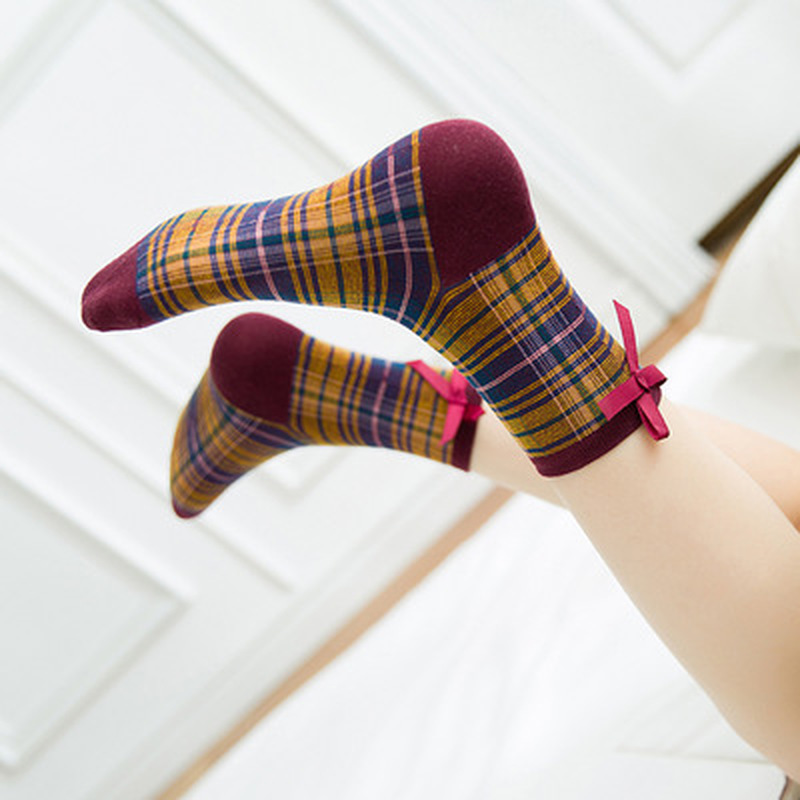 Vintage Bow Student Japan College Style Cotton Fashion Socks Cotton Cute Girls Lattice Socks For Woman Female Art Modern Sox