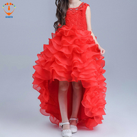 DENDITH 2018 Baby Girls Princess Long Dress Red Girl Wedding Party Dress Infant Carval Costumes For