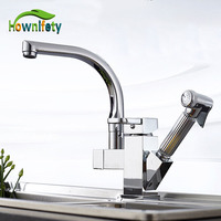 Solid Brass Kitchen Faucet Pull Out Swivel Spout Mixer Tap Deck Mount Sink Mixer Tap Pull