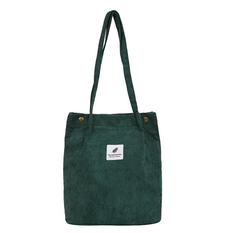 Women Corduroy Shopping Bag Female Canvas Cloth Shoulder Bag Environmental Storage Handbag Reusable Foldable Eco Grocery Tot