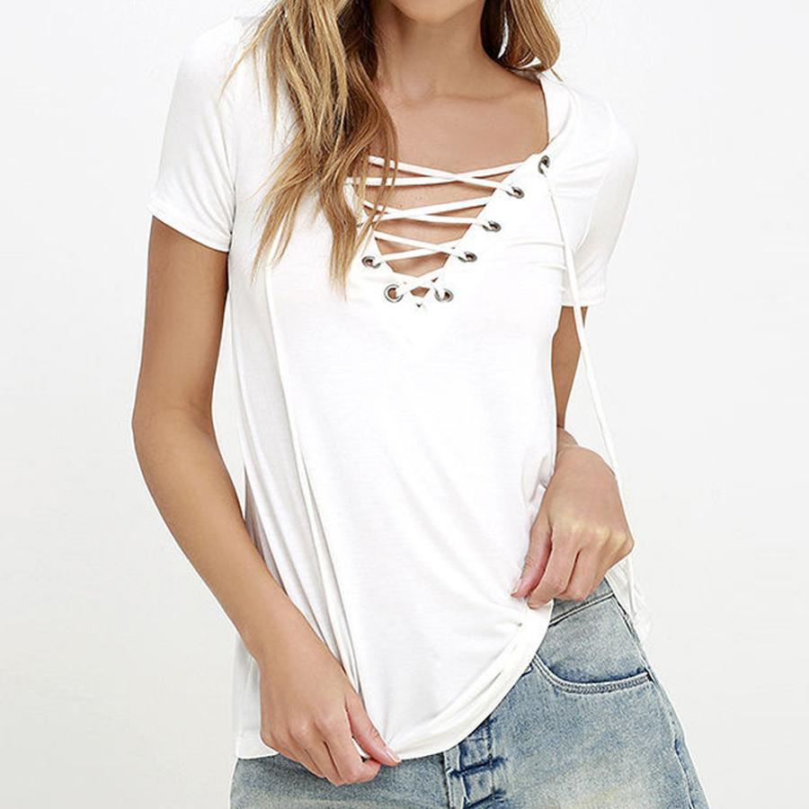 46c0121f9c Fashion Women White V Neck Lace Up Shirts Tee Shirts tshirt Casual Tops  poleras mujer Plus Sizes Summer Short Sleeve T Shirts