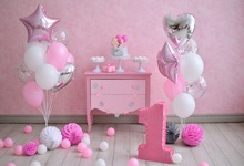 Laeacco Baby 1st Birthday Colorful Balloons Flowers Desk Cake Photo Background Customized Photographic Backdrop For Studio
