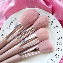 BBL розовые Премиум кисти для макияжа, свободная пудра, полировка, коррекция румян, коническая растушевка, хайлайтер, кисть для теней, инструменты для макияжа