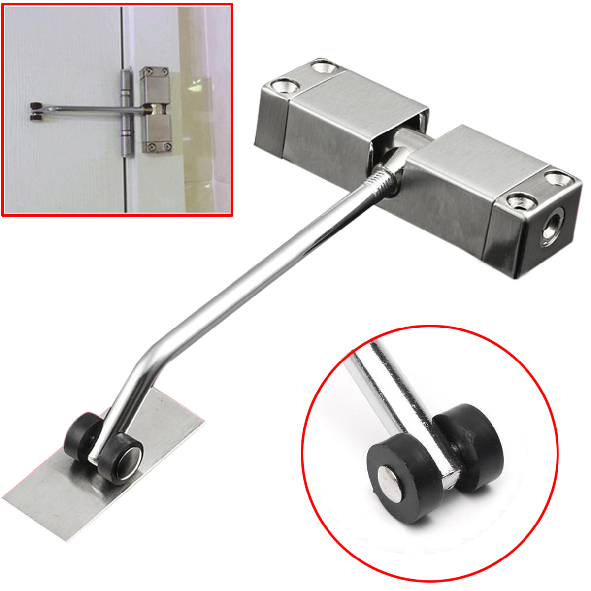 1pc Automatic Mounted Spring Door Closer Stainless Steel Adjustable Surface Door Closer 160x96x20mm 20 40kg adjustable high quality surface mounted door closer invisible buffer closed fire door access control
