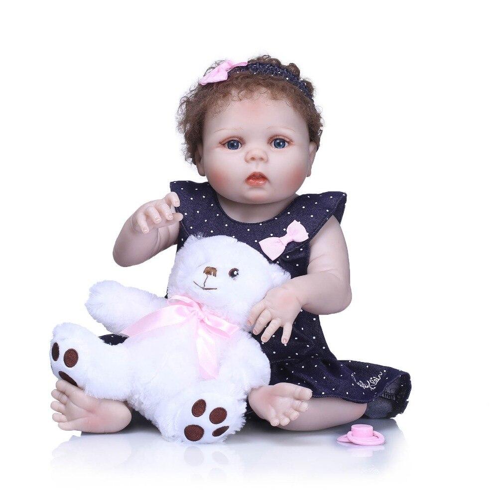 Npkcollection 55 cm 전체 실리콘 바디 태어난 아기 인형 장난감 실물 신생아 공주 아기 인형 목욕 장난감 아이 선물 생일-에서인형부터 완구 & 취미 의  그룹 1