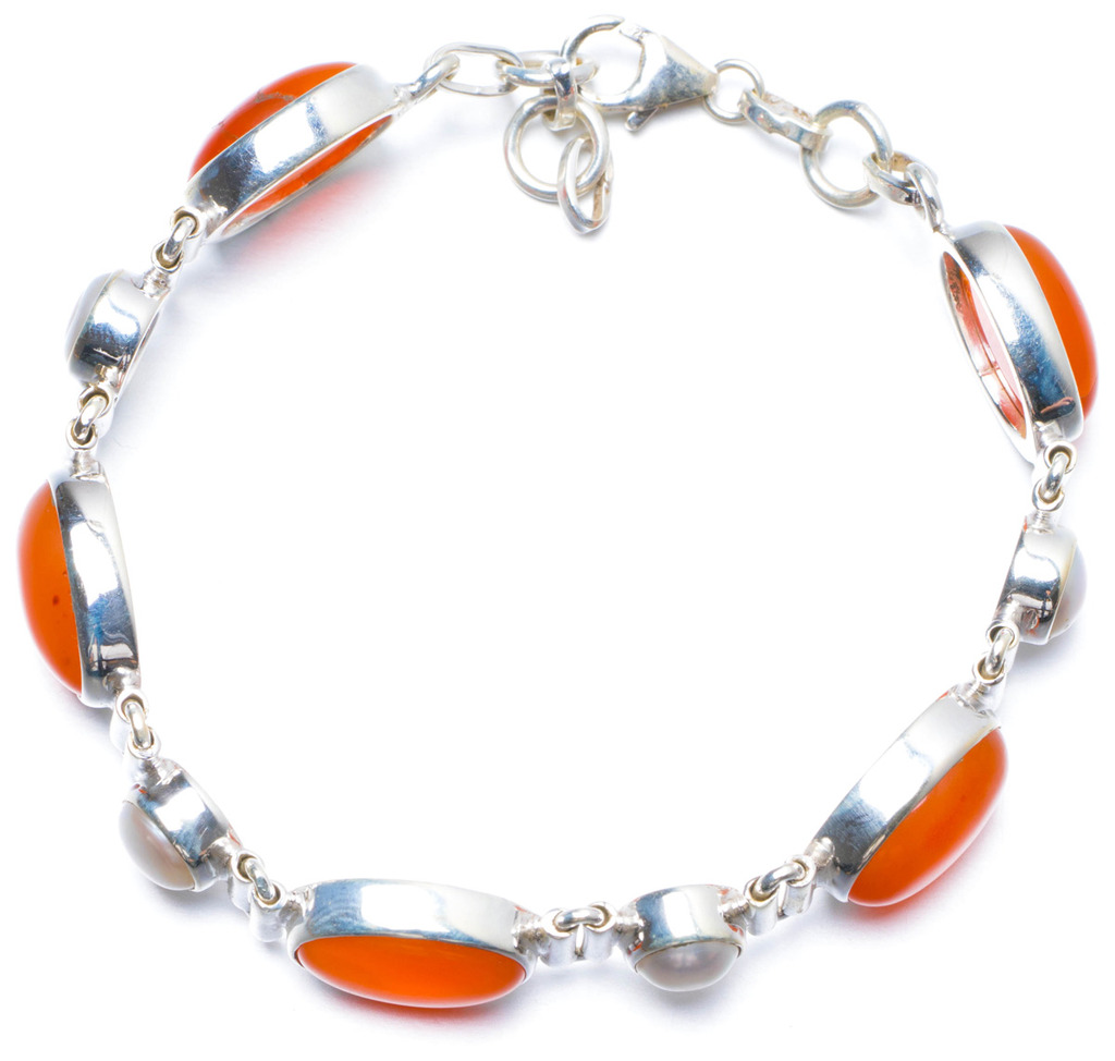 Natural Carnelian and River Pearl Handmade Unique 925 Sterling Silver Bracelet 7- 7 1/2 Y0134