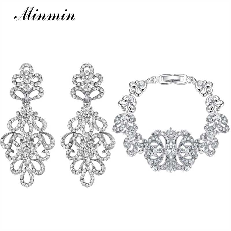 Minmin Bridal Jewelry Sets Amazing Design Fashion Bracelet Earrings Sets for Women Wedding Jewelry for Party Prom EH177+SL040