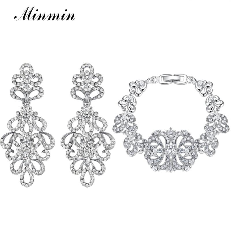 Minmin Bridal Jewelry Sets Fantastiska Design Fashion Armband Örhängen Satser för Kvinnor Bröllop Smycken för Party Prom EH177 + SL040