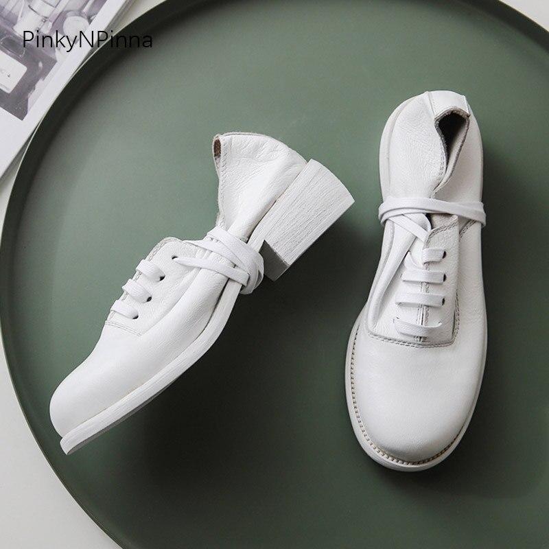أعلى جودة جلد كامل النساء أكسفورد ذو أربطة حتى الغنم العلوي كعب مربع خمر البريطانية preppy البروغ حذاء أيرلندي نمط مكتب الأحذية-في أحذية نسائية مسطحة من أحذية على  مجموعة 3