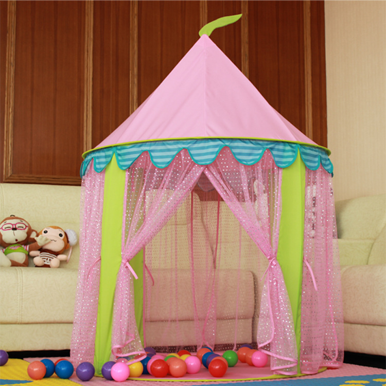 Genuine girl Princess Castle children tent large Tulle lace mosquito game house 1-2-3-6 years old south korea six large angle princess castle tulle children toy house large game room selling mosquito tent puzzle tent toy
