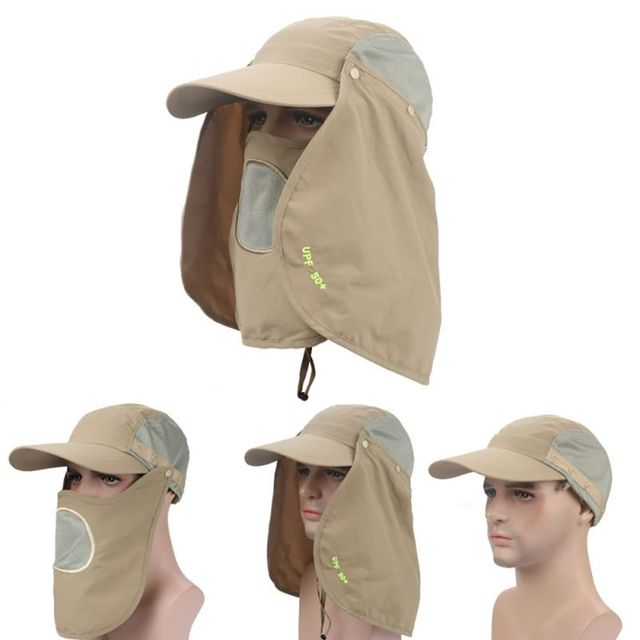 c6586f25bbd94 Unisex Outdoor Fishing Running Trainning UV Protection Face Mask Neck Flap  Sun Rain Cap Fishing Hiking Face Cover Hat