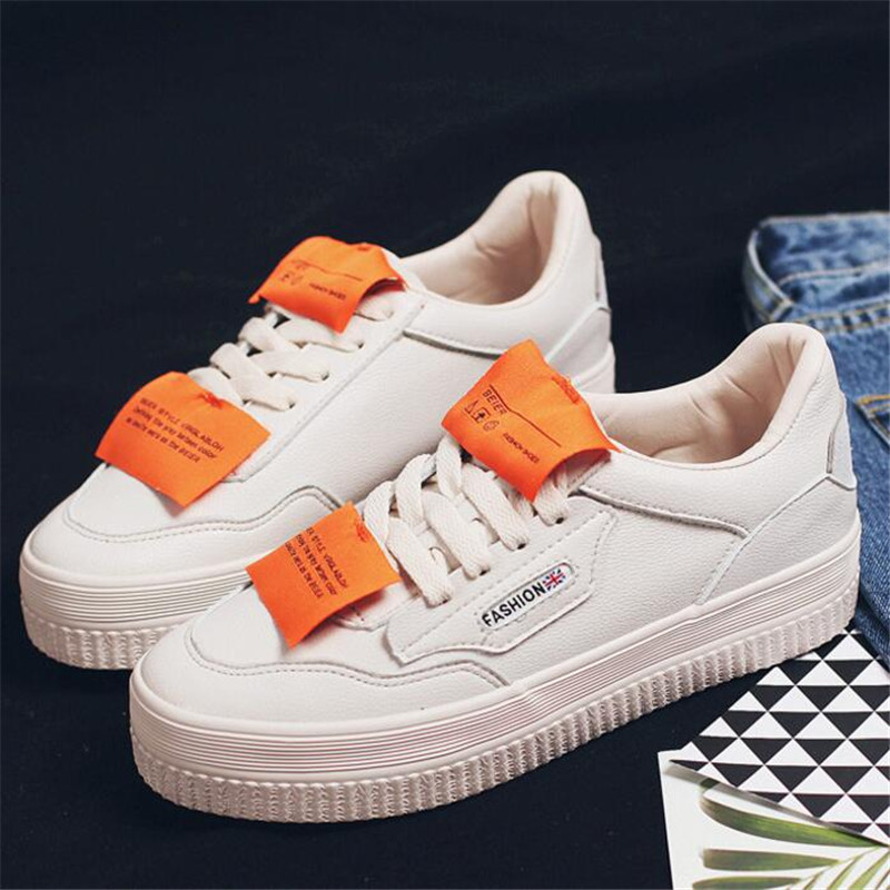 ed5f98e0ced20 Solide Blanc Mode Formateurs Begine Chaussure Casual Baskets Panier forme  Femmes white Lacets Toile Plate 2018 Chaussures Femme 71YO5x