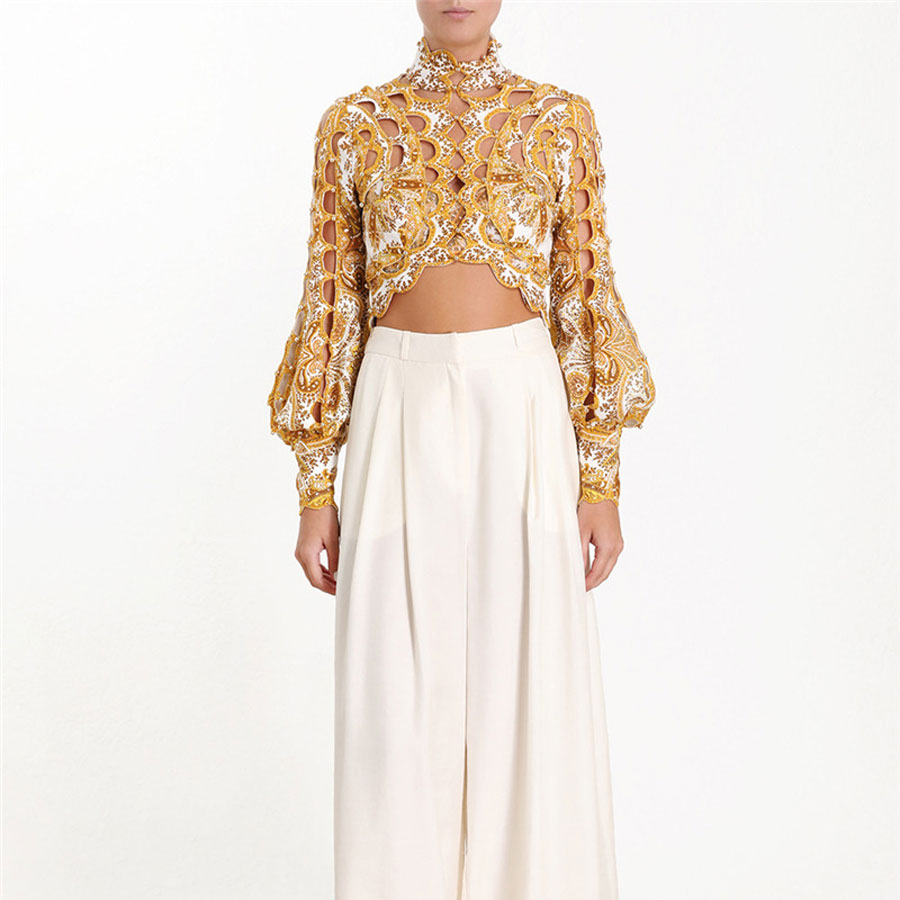 2019 New Arrival Women Fashion Sexy Blouse Shirt Hollow Out Beading Pattern Short Style Top Shirt Puff Sleeve Gold Blouse Women