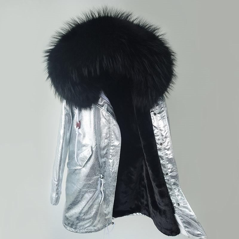 2019 Brand   Parka   Silver Pu Coat Real Fur Coat Winter Jacket Women Natural Raccoon Fur Warm Thick   Parkas   Detachable Streetwear