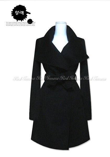 Femmes Élégant Manteau Blue Trench Et Simple Mélangée Automne Dames Noir marron Manteaux dark Style Américain De Hiver Revers Européen Mode Laine 1qA4wxvSE