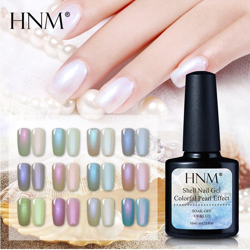 HNM 10ML Chameleon Shell Nail Polish Pearl Nail Varnish Semi Permanent Hybrid Lucky GelLak Holographic UV LED Stamping Enamel