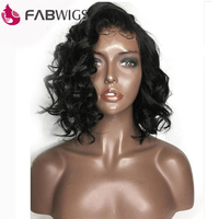 Fabwigs 180% Density Lace Front Human Hair Wigs with Baby Hair Pre Plucked Loose Wave Short Bob Wigs Indian Remy Hair