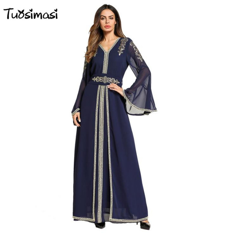 2018 Maxi Jalabiya Islamic Ramadan Arab blue Middle East Robe Muslim Abaya Chiffon floor Length embroidery Dress (M009)
