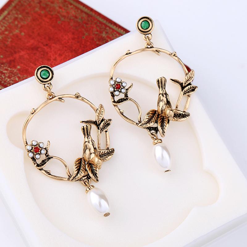 New Design Alloy Birds Leaves Flower Simulated Pearl Vintage Earrings For Women