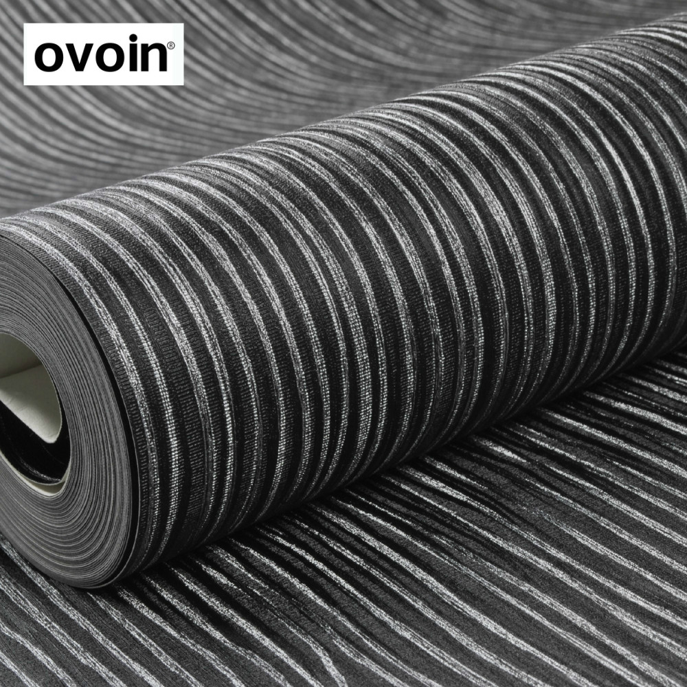 Textured Silver Striped Black Wallpaper Roll Vinyl Wall Paper For Bedroom Living Room new modern black wallpaper striped purple and silver glitter wall paper roll for wall living room bedroom tv sofa background