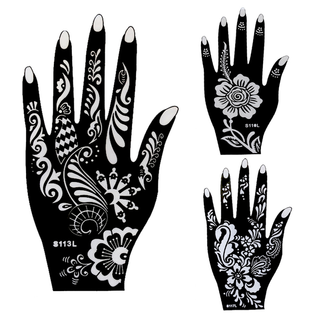 10pcs Large Henna Tattoo Stencils,Flower Glitter Airbrush Mehndi Indian Henna Tattoo Templates Stencil For Hand Painting 21x12cm
